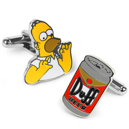 Homer Simpson & Duff Beer Cufflinks