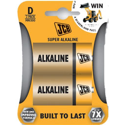JCB Super Alkaline D Batteries - 2 Pack