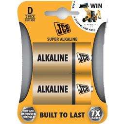 JCB Super Alkaline D Batteries - 2 Pack