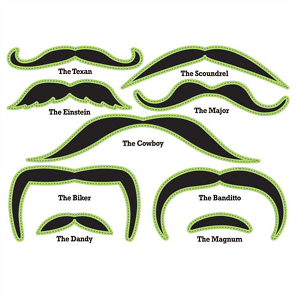 Glow in the Dark Moustache Face Tattoo