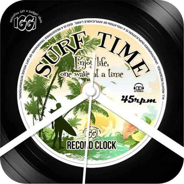 Retro Record Clock: Surf Time